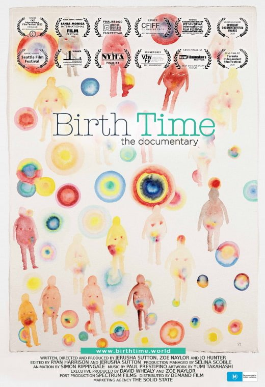 Birth Time poster with illustrations of pregnant figures and colourful circles.